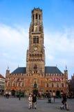 Torre di orologio medievale a Bruges Fotografie Stock Libere da Diritti