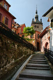 Torre di orologio medievale nel luogo di nascita di Draculas Fotografie Stock Libere da Diritti