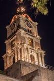 Torre di orologio medievale Rhodes Island Greece Immagini Stock