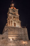 Torre di orologio medievale Rhodes Island Greece Fotografia Stock Libera da Diritti