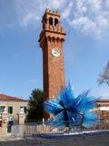 Torre di orologio in Murano - campo Santo Stefano Fotografia Stock Libera da Diritti