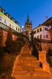 Torre di orologio, punto di riferimento della Transilvania, Sighisoara Fotografia Stock Libera da Diritti
