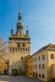 Torre di orologio in Sighisoara, Romania Immagine Stock
