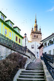 Torre di orologio in Sighisoara, Romania Fotografia Stock
