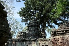 Torre di pietra antica di un complesso abbandonato del tempio in Sud-est asiatico Patrimonio architettonico dell'impero khmer fotografia stock