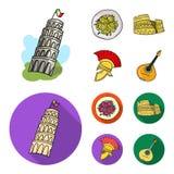 Torre di Pisa, pasta, Colosseo, casco del legionario Icone stabilite della raccolta del paese dell'Italia nel fumetto, simbolo pi Fotografia Stock