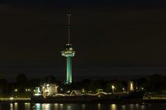 Torre di Rotterdam Euromast alla notte Fotografia Stock