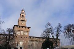 Torre di Sforzesco del castello Immagine Stock Libera da Diritti