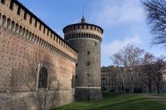 Torre di Sforzesco del castello Immagini Stock