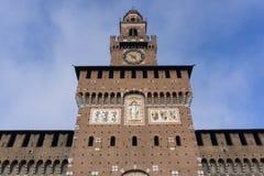 Torre di Sforzesco del castello Fotografia Stock