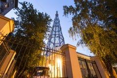 Torre di Shabolovka della torre radiofonica di Shukhov - è una torre di radiodiffusione a Mosca ha progettato da Vladimir Shukhov Immagine Stock