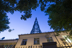 Torre di Shabolovka della torre radiofonica di Shukhov - è una torre di radiodiffusione a Mosca ha progettato da Vladimir Shukhov Fotografia Stock