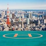 Torre di Tokyo della piazzola di eliporto, Tokyo Giappone immagine stock libera da diritti