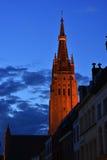 Torre di tramonto di Bruges Immagini Stock Libere da Diritti