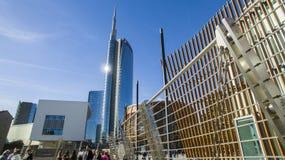 Torre di Unicredit e padiglione di Unicredit, Milano, Italia Immagini Stock Libere da Diritti