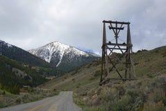 Torre do bonde para a mina branca do botão fotografia de stock