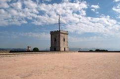 Torre do castelo de Montjuic com o telégrafo ótico imagens de stock