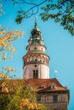 Torre do castelo em Cesky Krumlov, República Checa Fotografia de Stock Royalty Free