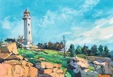 Torre do farol ao longo da pintura tirada mão da aquarela do seascape da costa fotos de stock royalty free