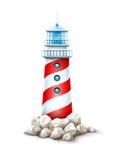 A torre do farol na pedra balança a ilustração do vetor do monte Baliza do mar no banco da pedra do litoral Fundo do branco Eps10 Imagem de Stock
