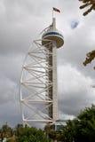 A torre do Gama de Vasco a Dinamarca nas nações estaciona, Lisboa. Imagem de Stock