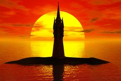 Torre do por do sol Fotos de Stock Royalty Free