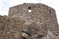 A torre do relógio na cidade antiga de Machu Picchu fotos de stock royalty free