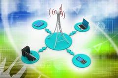 Torre do sinal com trabalhos em rede