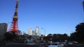 Torre do Tóquio no céu azul no Tóquio vídeos de arquivo