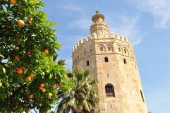 A torre dourada é Sevilha, Espanha Fotografia de Stock Royalty Free