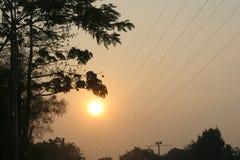 Torre e cabos bondes na manhã Foto de Stock