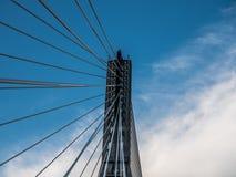 Torre e cabos da suspensão da ponte Fotografia de Stock Royalty Free
