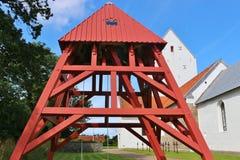 Torre e chiesa di orologio in Danimarca, Scandinavia, Europa Immagini Stock Libere da Diritti