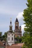 Torre e chiesa ortodossa di Gardos in Zemun, Serbia Fotografie Stock