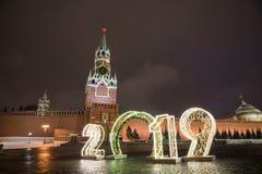 Torre e 2019 de Spasskaya inverno Moscou antes do Natal e do ano novo fotografia de stock