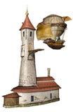 Torre e dirigibile di fantasia illustrazione di stock