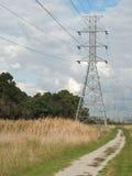 Torre e fios de alta tensão através da terra do parque fotografia de stock