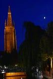 Torre e luna Immagini Stock