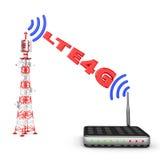Torre e modem Fotografia de Stock