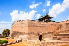 Torre e muro di cinta del scena-portone di Ping Yao Fotografia Stock