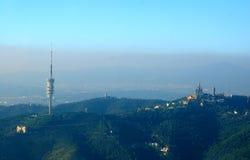 Torre e paisagem de Barcelona fotos de stock royalty free