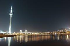 Torre e ponte di Macao a Taipa alla notte Immagine Stock Libera da Diritti