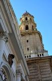 Torre ed entrata della cattedrale del salvatore a Saragozza, Spagna Fotografie Stock Libere da Diritti