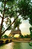 Torre Eiffel atrás das árvores fotografia de stock royalty free