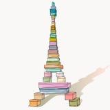 Torre Eiffel colorida con la caja de las compras stock de ilustración