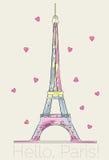 Torre Eiffel colorida con los corazones stock de ilustración