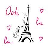 Torre Eiffel com a mão dos corações tirada Imagem de Stock