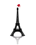 Torre Eiffel com o chapéu vermelho do inverno Imagem de Stock Royalty Free