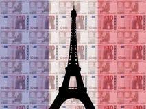 Torre Eiffel con 10 euro Fotografia Stock Libera da Diritti