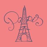 Torre Eiffel con l'iscrizione di Parigi Fotografia Stock